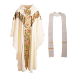 Christian Church Liturgical Clergy Chasuble Pastor Priest Robe With White Stole