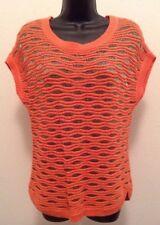 Ann Taylor Petite Sz Small Orange Silver Short Sleeve Sheer Knit Shirt L3