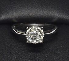 SPARKLE!! 1/3ct Diamond Round Cut Cluster 10K White Gold Engagement Halo Ring
