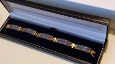FANTASTIC QVC 14k Yellow Gold & LAVENDER Two Row JADE Bracelet in Gift Box*****