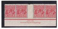G45) Australia 1930 KGV 2d golden scarlet die III SM P13.5 x 12.5 imprint strip4