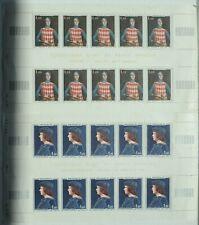 Feuille 2 x 10 Timbres Monaco N°734 et 735 Neufs Rainier III 1967