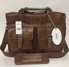 NEW TOMMY BAHAMA BACK 9 GENUINE LEATHER MESSENGER BAG COGNAC $350 BRIEFCASE