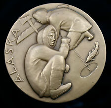 RARE UNC 1965 The Society of Medalists, Issue #71-ALASKA & HAWAII-73mm-BRONZE