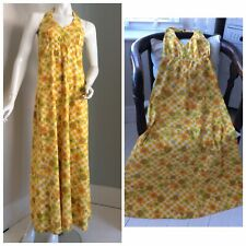 1970s Halter Neck Maxi Dress Mustard & Yellow Floral Hippy Folk  True Vintage.