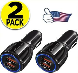 2 Pack 2 USB Port Fast Car Charger for Apple iPhone Samsung Galaxy Android Moto