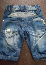 Rare* Desigual Palmera Boys blue denim washed ball Denim Bermuda Shorts Sz 5-6Y