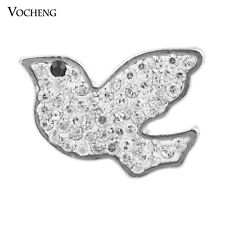 20pcs/lot Bird Snap Charm 3 Color Crystal Vocheng Metal Button Jewelry Vn-875*20