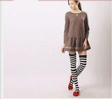 Lady Womens Chic Over Knee Long Stripe Print Thigh High Striped Socks 3colors Z