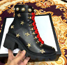 Women G Black Leather ankle boot with belt with box  GG