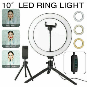 LED Selfie Ring Light With Clamp Cell Phone Holder For Video Live Stream UK