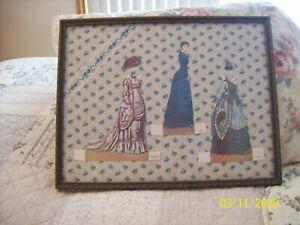 Folk Art Paper Dolls Vintage Wall Hanging Framed & Under Glass