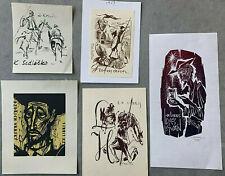 10 jugutes ex libris Strobel-matza lot 10 Erotic nude Bookplates erotismo a