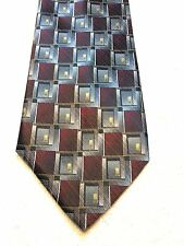 PLATINUM DESIGNS MENS TIE 4 X 61, BURGUNDY WITH GRAY AND GOLD, NWOT
