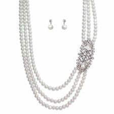 483a Silverplated Bridal Prom 2 Strand Faux White Pearl Necklace & Earrings Set Outstanding Features Bridal Jewelry Wedding & Formal Occasion