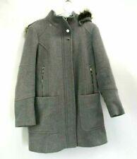 London Fog Womens Medium Peacoat Winter Wool Blend Full Length Faux Fur Hood