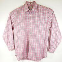 Peter Millar Men's Shirt Long Sleeve Button  Red Blue White Check Plaid SZ Large