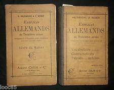 Exercices allemands 1896 - livre du maître +  livre de l'élève - Halbwachs Weber