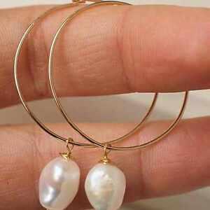 Beautiful Fashion white Baroque Pearl Gold 14k Earrings gift Easter Classic Hook