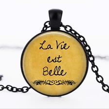 La Vie est Belle Black Glass Cabochon Necklace chain Pendant Wholesale