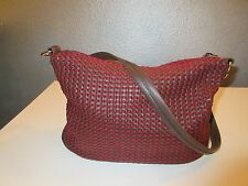 The Sak~Brown & Red Woven Tote Shoulder Handbag w/Leather Base and Strap~Lucca