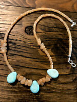 "#958 Turquoise Tear Drops and Carnelian 19"" Necklace, Sterling Silver Hook Clasp"