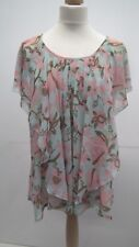 H&M Floaty Green and Pink Top size 8
