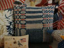 Primitive  Antique Woven Wool Coverlet Pillow 1800's Civil War Blue