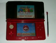 Nintendo 3DS FLAME RED Console + SUPER MARIO 64 DS Game TESTED WORKING