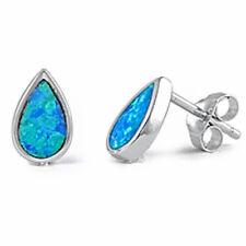 Tear Drop Blue Opal .925 Sterling Silver Earring