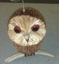 Wonderful Natural Brush Art Animal Owl perched on Stick, Christmas Ornament, New