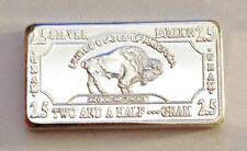 "2.5 Gram ""Buffalo"" Finished in 999 Fine Silver (no Capsule)."