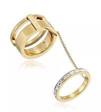New Michael Kors MKJ6087710 Crystal Gold Tone Fashion Double Ring ~Size 8