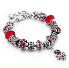 NEW Woman's/Girls Silver Plated Red Crystal Charm Bracelet with Hand - Gift