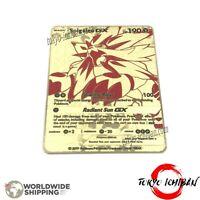 Carte Pokemon Solgaleo GX EX Gold Fan Made Custom Metal Card RARE