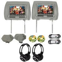 "Rockville RVD721-GR 7"" Gray Dual DVD/USB/HDMI Car Headrest Monitors+Headphones"
