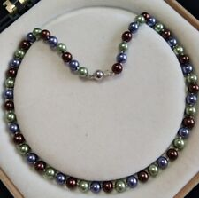 8mm multicolor Akoya Shell Pearl necklace AAA 18 inches  Y01