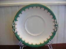 Vintage Porcelain Hand Painted Green & Gold Swag Motif Tab Handle Platter
