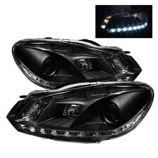 Volkswagen 10-14 Golf / GTI Black DRL LED Projector Headlights Daytime Running