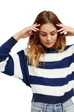 Free People Anchors Away Stripe Top Medium 6 8 Blue Cool Breathable Terry Shirt