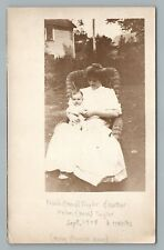 Mother & Son on Wicker Chair RPPC Helen Bass—Frank Herb Taylor—Wisconsin Photo