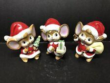 3 Vintage Homco Christmas Mice 5405 Taiwan Ceramic Santa Mice Mouse
