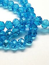 Glass Beads Facet Cut Turquoise Blue Rondelle 8mm Strand of 70