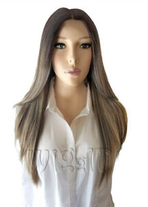 DEMI | BLONDE/ASH BROWN/PINK | HUMAN HAIR MIX STRAIGHT LACE FRONT WIG | SLEEK