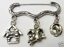 TOP DOG AND BONE PUPPY KENNEL CHARM SILVER TONE BROOCH / PIN