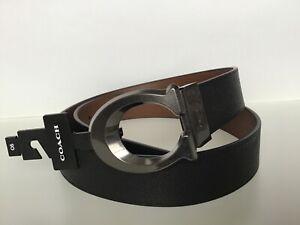 COACH Signature C Buckle Cut-To-Size Reversible Belt QB/Black/Dark Saddle - NWT