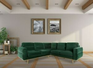 Contemporary Hand Crafted Green SECTIONAL Living Room Sectional Dark Forest