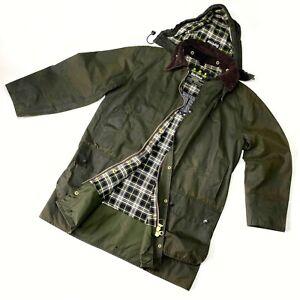 Men's Barbour Border Green Olive Hooded Waxed Jacket Wax Coat