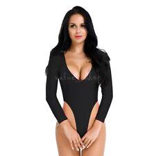 Women's Long Sleeve Romper Bodysuit Crotchless Thong Leotard Top Blouse Lingerie