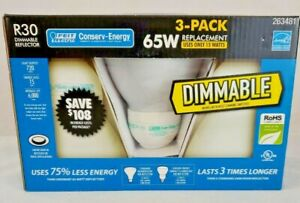 New ! Lot 3 *Dimmable* Reflector Light Bulbs Recessed/Flood Fluorescent R30 65W